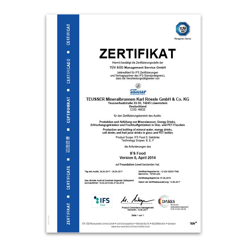 IFS-Zertifikat 2017 Deutsch