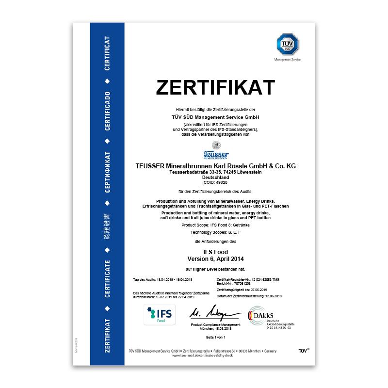IFS-Zertifikat 2018 Deutsch
