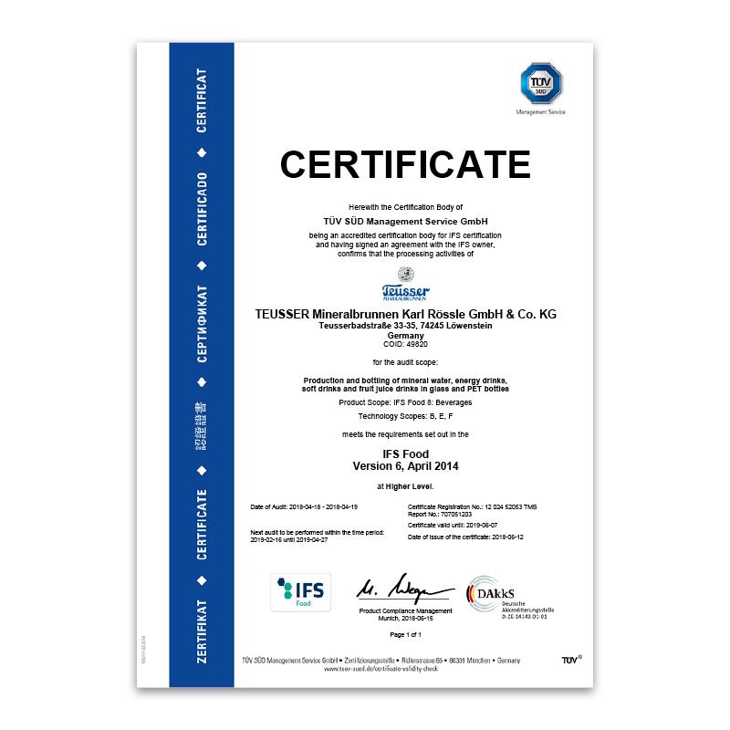 IFS- Zertifikat 2018 Englisch
