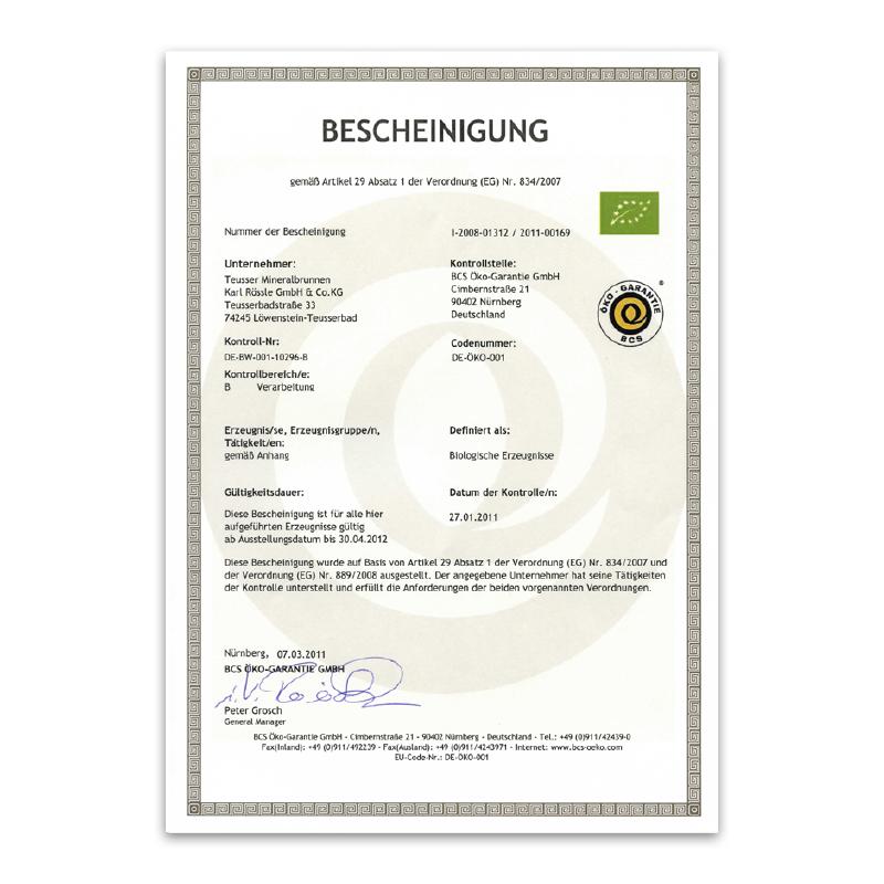 Bio-Zertifikat 2011