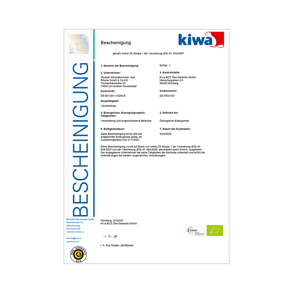Bio-Zertifikat 2020