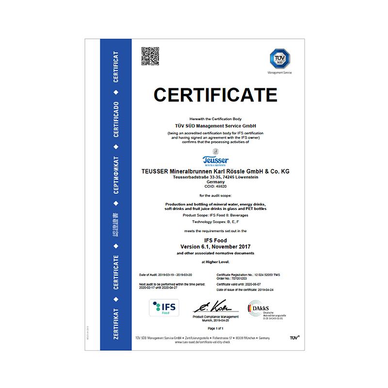 IFS-Zertifikat 2019 Englisch