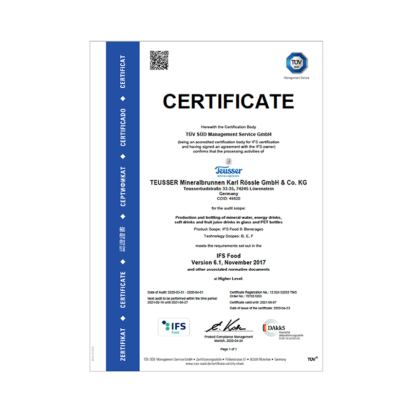 IFS-Zertifikat 2020 Englisch